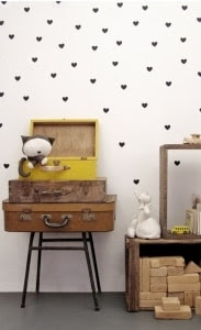 Black heart wall decals, wall sticker,  vinyl wall decal