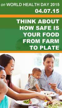 World Health Day Foodsafety.gov Image showing a family eating a meal with veggies, fruit, and meat