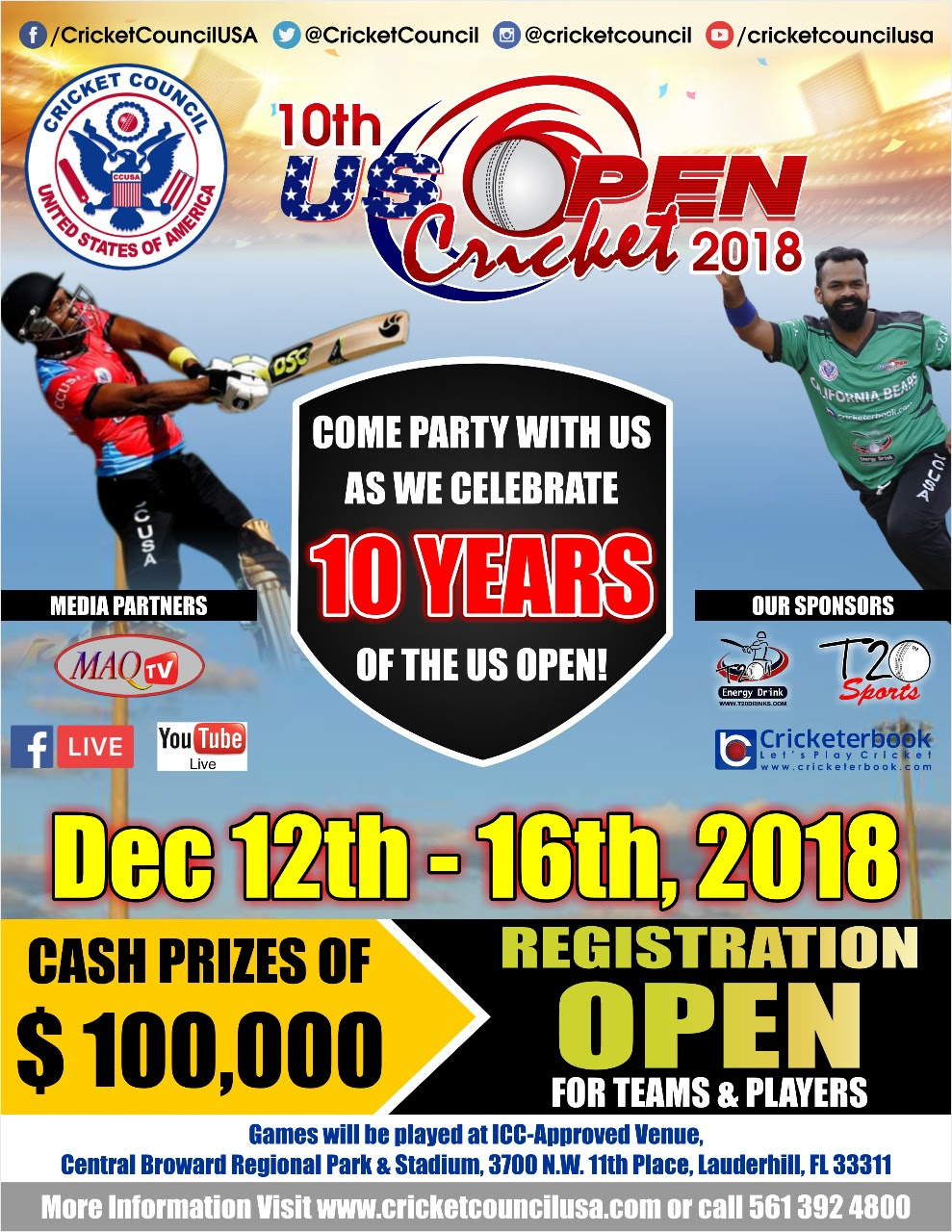 Great News!!!! 10th Annual US Open dates starts on Dec 12th, Reserve your spot soon