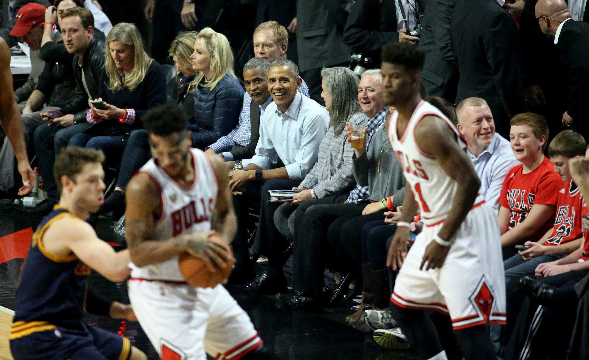 President Obama enjoying a game of basketball