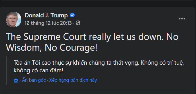 Trên Twitter, Tổng thống Trump chỉ trích Tối cao Pháp viện thiếu trí tuệ và can đảm để cứu nước Mỹ.