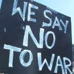 We say No to War sign seen at a 2007 anti-war protest. (Photo by Thiago Santos on flickr)