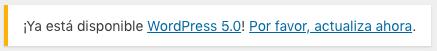 Mensaje de actualización de WordPress