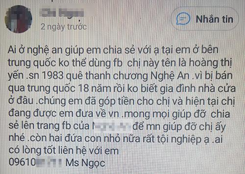 Nội dung mà chị Lưu Bích Ngọc đăng tải lên mạng xã hội kêu gọi trợ giúp mẹ con nạn nhân.