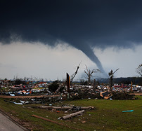 Disaster area with a tornado