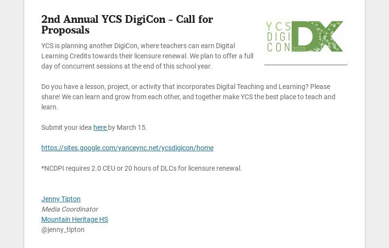 2nd Annual YCS DigiCon - Call for Proposals YCS is planning another DigiCon, where teachers can...
