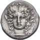 Facing head tetradrachm of Sicily, Catana, signed by Choirion