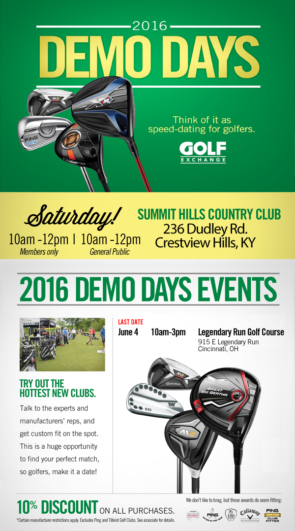 Golf Exchange Demo Day: May 28 – Summit Hills Country Club