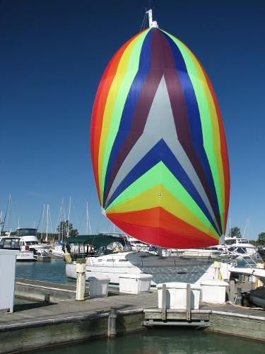 Spinnaker flying at the Dock