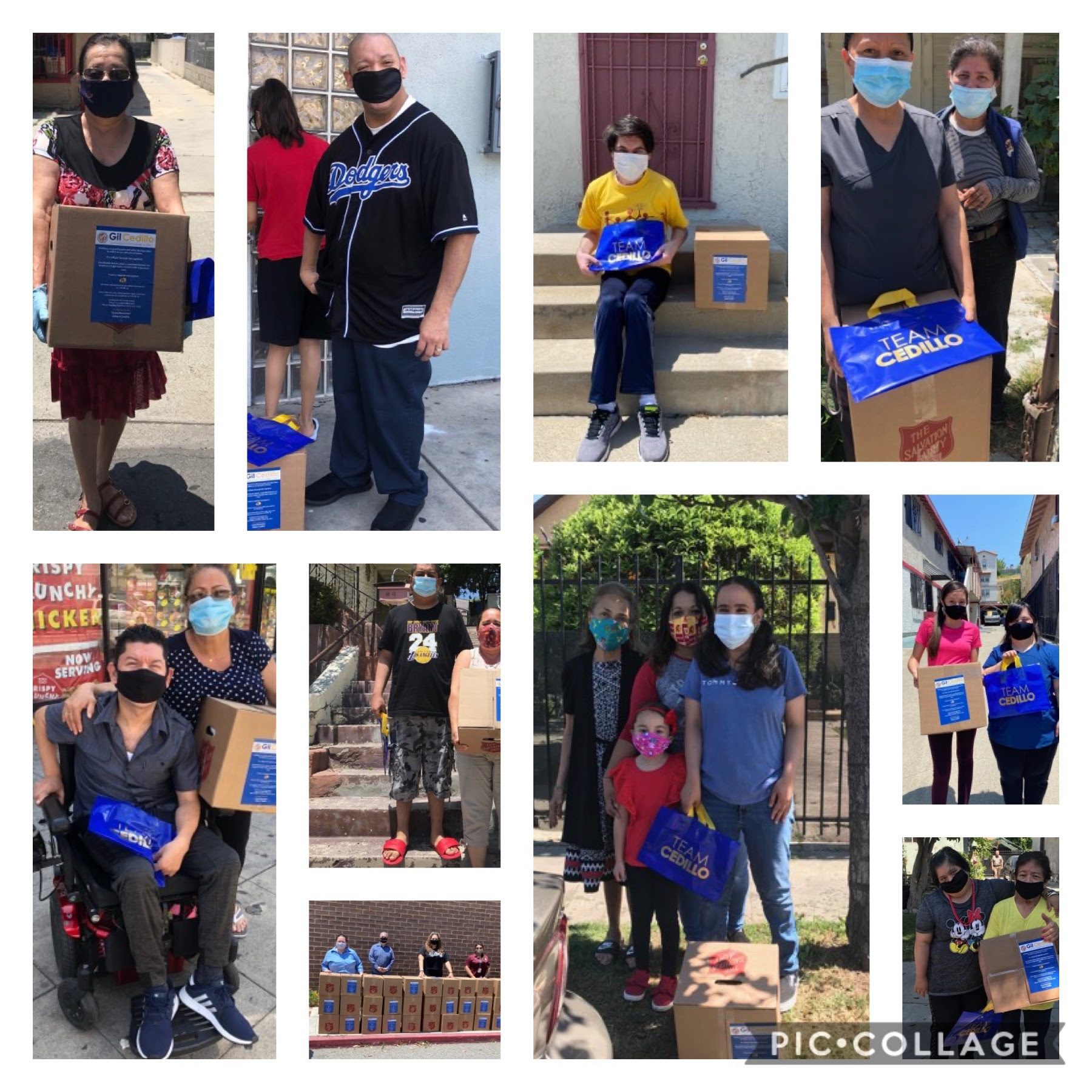 Team Cedillo, Salvation Army, and LA Dodgers deliver 45 food boxes to families of EL ARCA caring for aloved one with a developmental disability 5-29-2020 COLLAGE