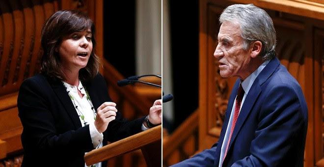 Los líderes del Bloque de Izquierdas, Catarina Martins, y del Partido Comunista, Jerónimo de Sousa.