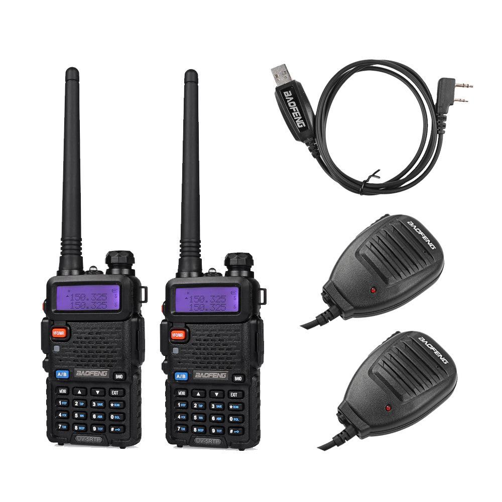 Image of Baofeng UV-5RTP Transceiver [2 Packs] + 2 Speaker Mic + 1 Cable
