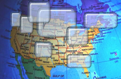 North America with talk bubbles.