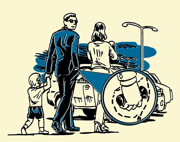 family walking at night dad husband with flashlight illustration