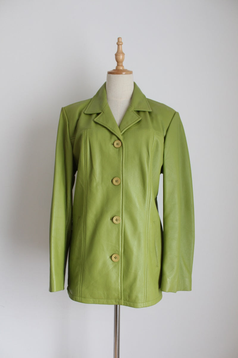 GENUINE LEATHER VINTAGE AVOCADO GREEN JACKET - SIZE 12