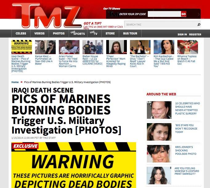 El diario estadounidense TMZ publicó un grupo de imágenes, y advirtió a sus lectores tener discreción al verlas, pues muestran  brutalidad y sadismo.