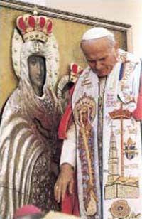 Św. Jan Paweł II przed Cudownym Obrazem