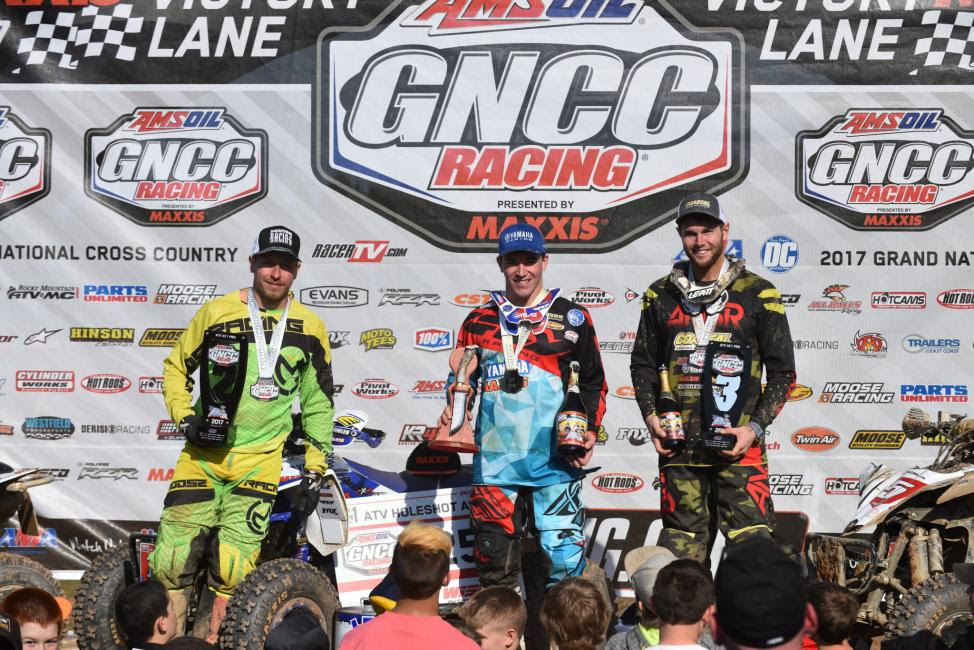 Walker Fowler (center), Jarrod McClure (left) and Brycen Neal (right) rounded out the podium at the 2017 GNCC Season Opener.