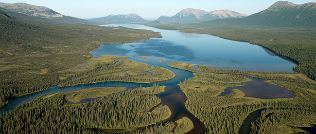 Aerial view of landscapes in the Bristol Bay watershed: mountains and wetlands