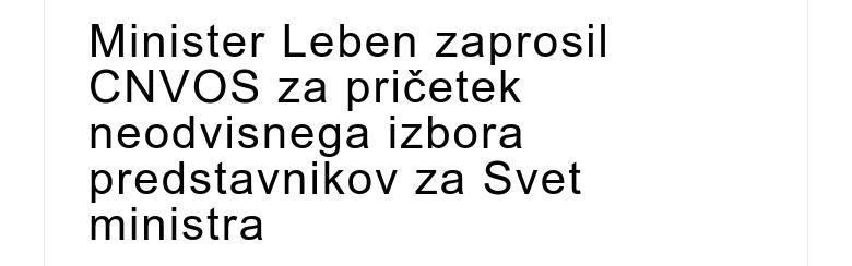 Minister Leben zaprosil CNVOS za pričetek neodvisnega izbora predstavnikov za Svet ministra