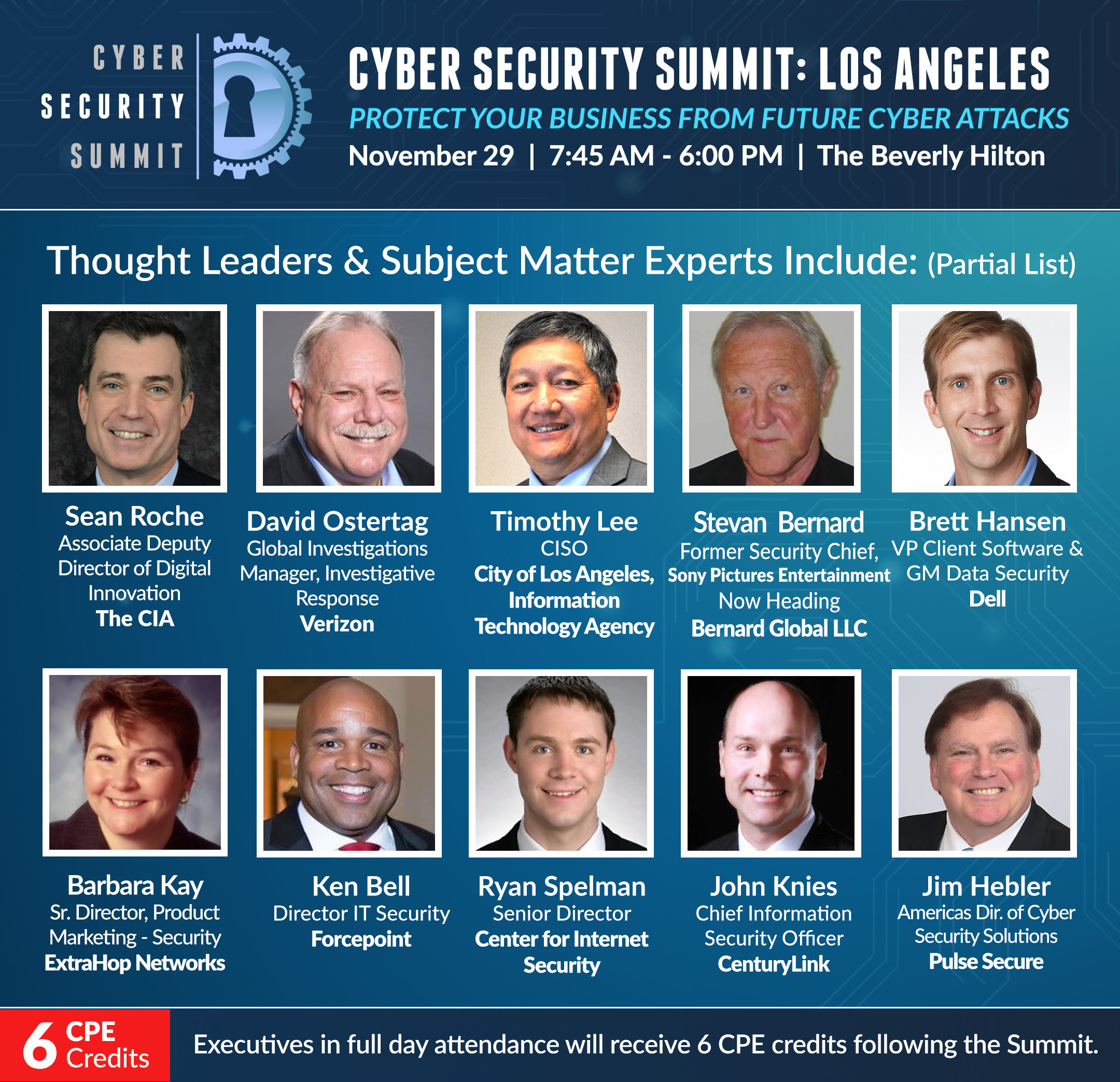 Complimentary Admission to the Cyber Security Summit Los Angeles with code: LA2018VIP