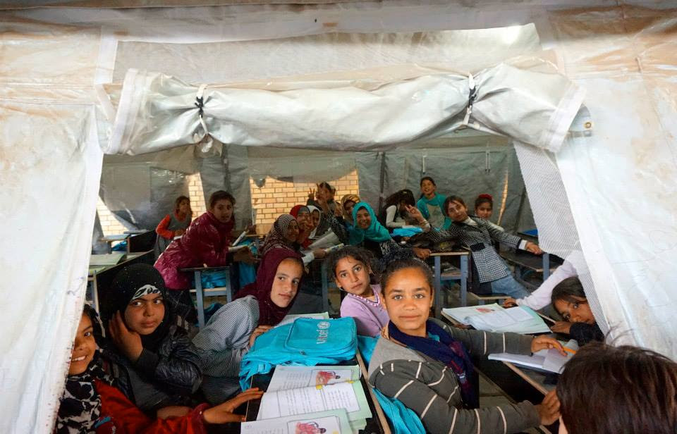 Iraqi Girls in makeshift Classroom