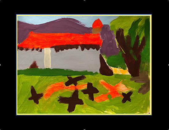 Tempera painting by a third grade student, double mounted on paper, 9 x 12