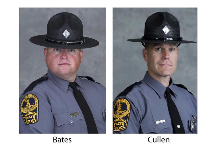 Trooper-Pilot Berke M.M. Bates, left, of Quinton, Va., and Lt. H. Jay Cullen, of Midlothian, Va. (Virginia State Police/AP)