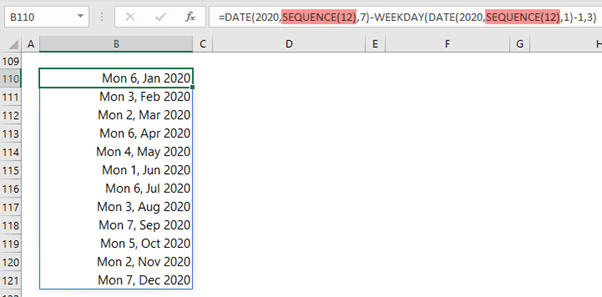 list first monday date in each month dynamic array formula