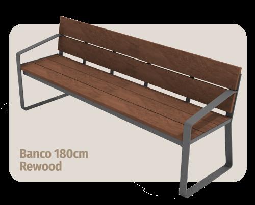 móvel para área externa: banco de madeira plástica rewood de 180cm de largura que não estraga com sol ou chuva