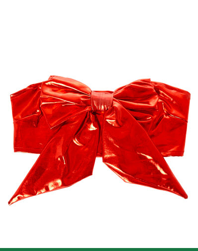 METALLIC RED BOW TUBE TOP
