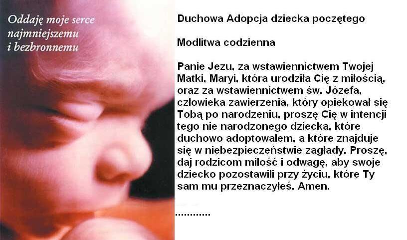 Znalezione obrazy dla zapytania modlitwa duchowej adopcji
