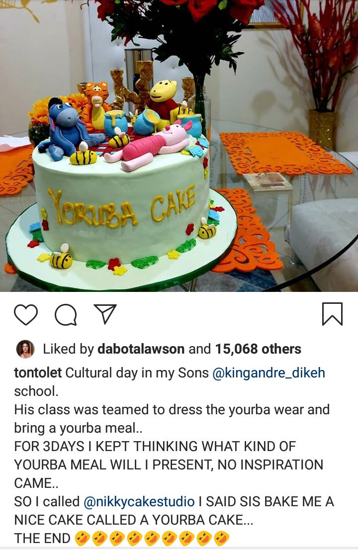 Tonto Dikeh asked to bring a Yoruba dish for her son