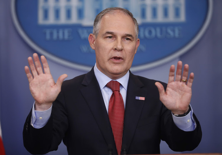 EPA Administrator Scott Pruitt speaks to the media at the White House last month. (Pablo Martinez Monsivais/AP)</p>