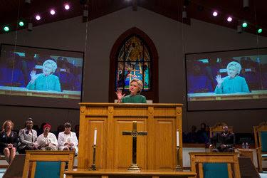 Hillary Clinton at Union Baptist Church in Durham, N.C., on Sunday.