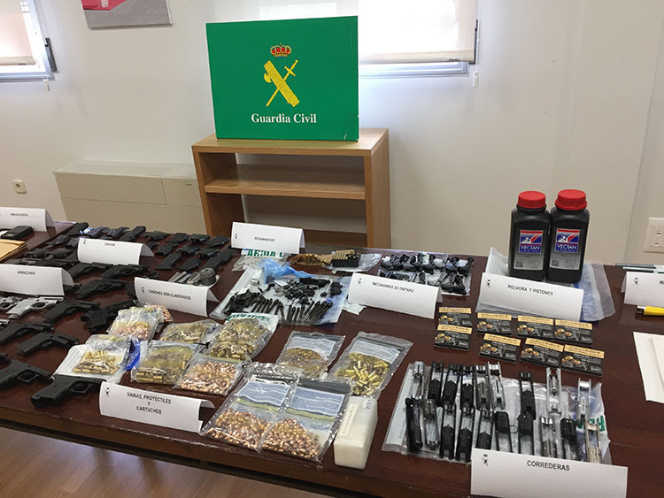 Seized firearms and ammunition sold via the Darkent