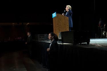 Hillary Clinton during a fund-raiser in California last week.