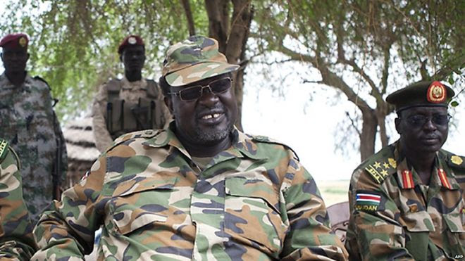 South Sudanese rebel leader Riek Machar at an army barracks in South Sudan's Upper Nile State on 14 April 2014