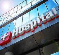 Hospital building exterior and hospital sign