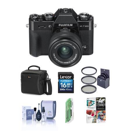 X-T20 24.3MP Mirrorless Digital Camera with XC 15-45mm F3.5-5.6 OIS PZ Lens, Black - Bundl