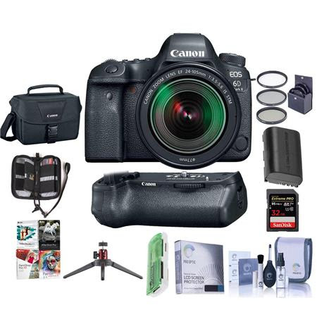 EOS 6D Mark II DSLR with EF 24-105mm f/3.5-5.6 IS STM Lens With Canon BG-E21 Battery Grip