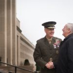 The_26th_Secretary_of_Defense,_James_Mattis,_is_greeted_on_his_first_full_day_in_the_position_by_Chairman_of_the_Joint_Chiefs_of