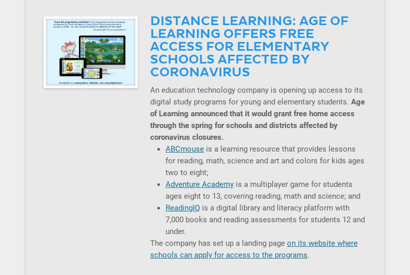 DISTANCE LEARNING: AGE OF LEARNING OFFERS FREE ACCESS FOR ELEMENTARY SCHOOLS AFFECTED BY...