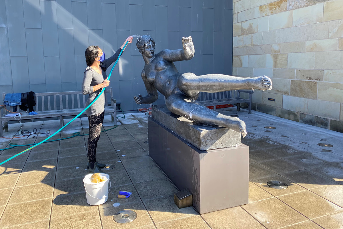 Amreet Kular washed Aristide Maillol's sculpture L'Air