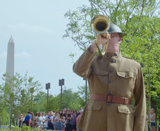 Taps Bugler at Flagstaff with crowd