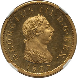 Great Britain: George III gilt-copper Proof Penny 1807-SOHO PR62+ Ultra Cameo NGC