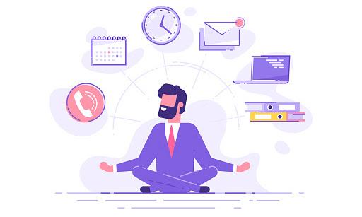 Homem sentado em posição de meditação e ao seu redor icones realcionados a trabalho (Telefone, calendario, relogio, notebook, pastas)