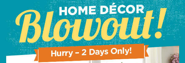 HOME DÉCOR Blowout! Hurry - 2 Days Only!