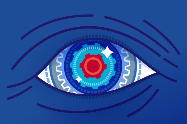 Image is a close up of an illustrated robotic eyeball.