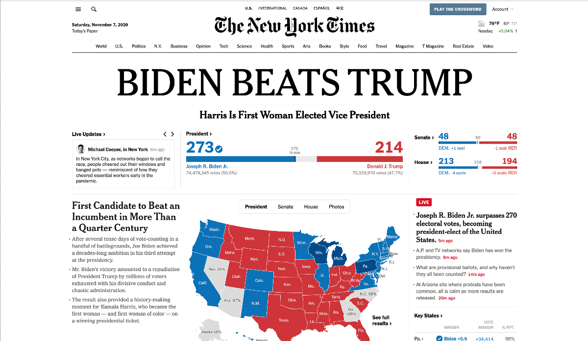 Front Page of New York Times
